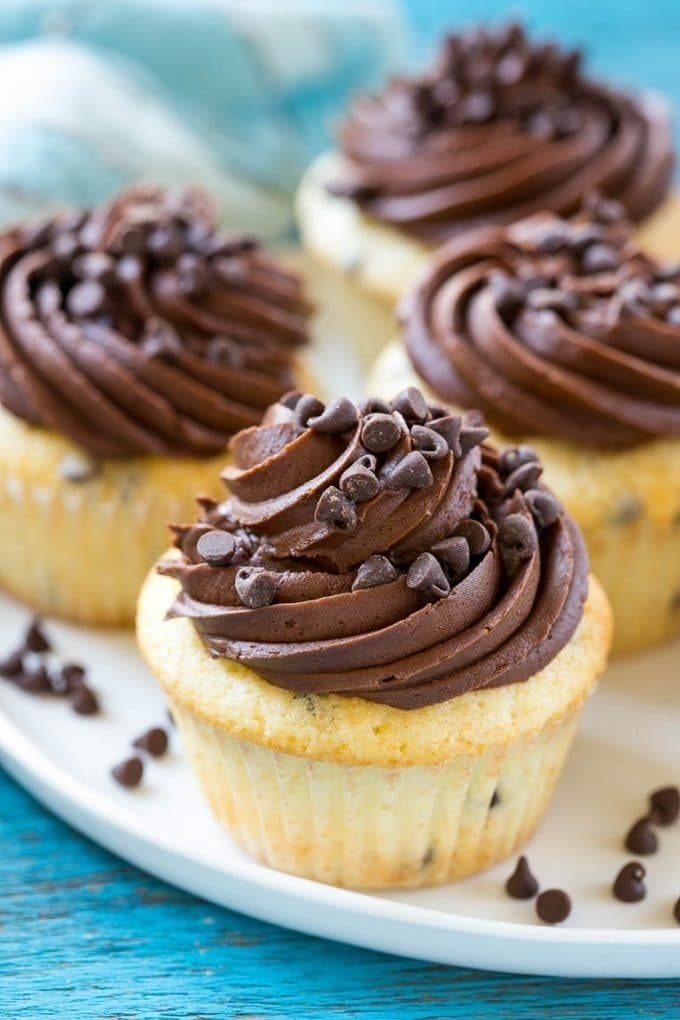 Chocolate chip cupcakes with vanilla cake and a swirl of chocolate frosting.