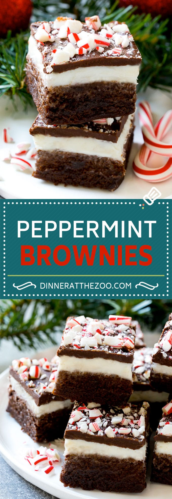 Peppermint Brownies Recipe | Holiday Brownies | Candy Cane Brownies | Mint Brownies #brownies #mint #peppermint #chocolate #dessert #christmas #dinneratthezoo