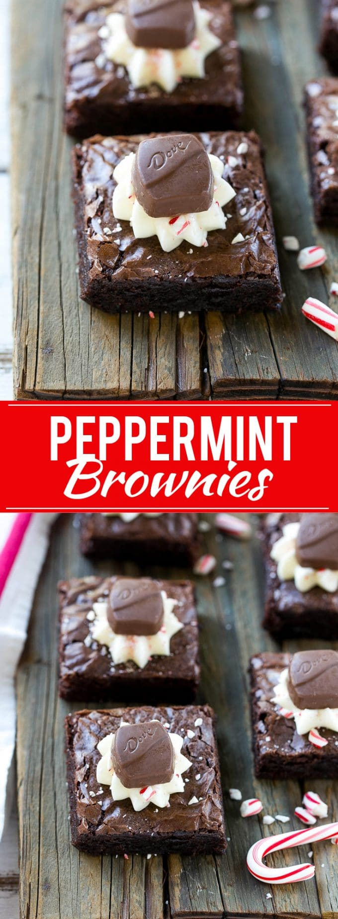 This recipe for peppermint brownies is fudgy chocolate squares topped with cream cheese frosting and chopped candy canes. The perfect holiday treat! #ad