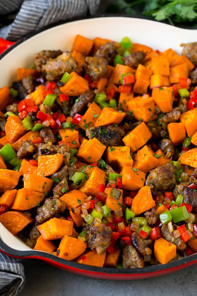 Hash with sweet potatoes, sausage and vegetables.