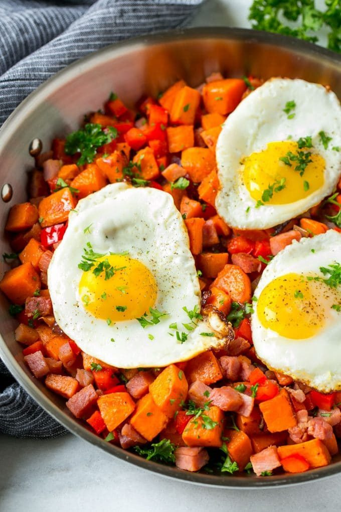 Sweet potato hash with ham and fried eggs