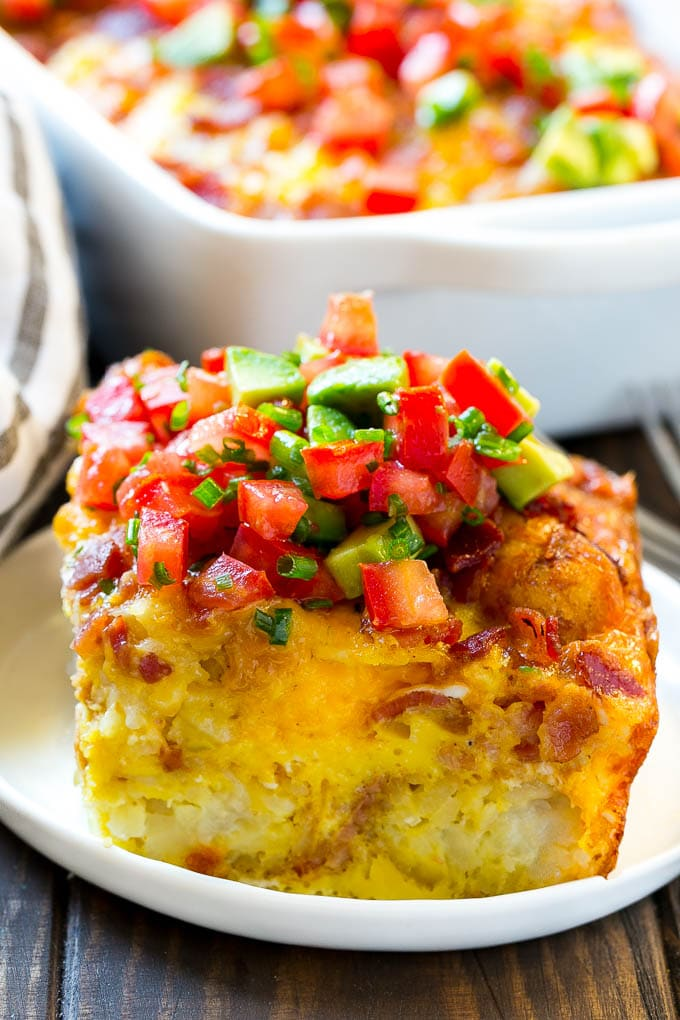 This egg casserole recipe is full of bacon, cheese and potatoes, all baked to perfection.