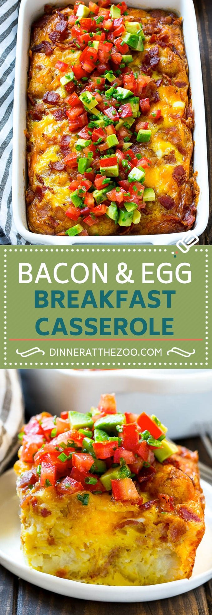 Breakfast Casserole with Bacon Recipe | Bacon and Egg Casserole | Egg Casserole with Bacon | Bacon Breakfast Casserole #eggs #bacon #casserole #breakfast #brunch #dinneratthezoo
