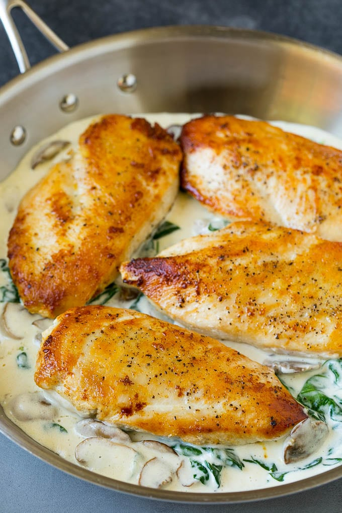 Chicken breasts cooked in a pan of cream sauce.