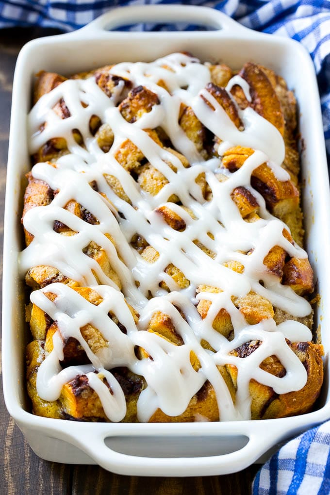 This cinnamon roll french toast bake is made with canned cinnamon rolls and is the perfect brunch main course.