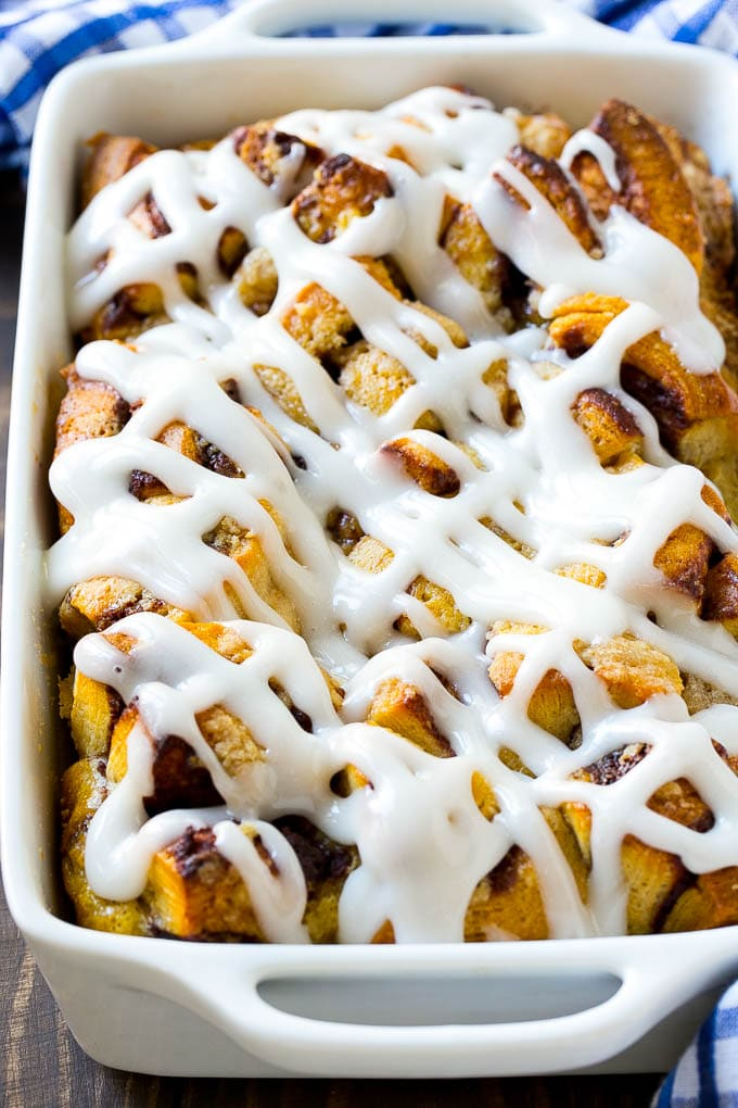 This cinnamon roll french toast casserole is a breakfast favorite that's simple to make.