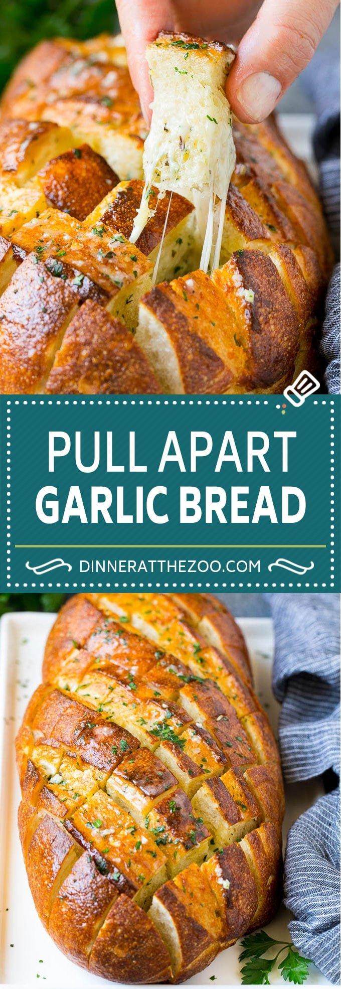 Pull Apart Bread | Garlic Bread | Cheese Bread #bread #garlic #cheese #sidedish #appetizer #dinneratthezoo