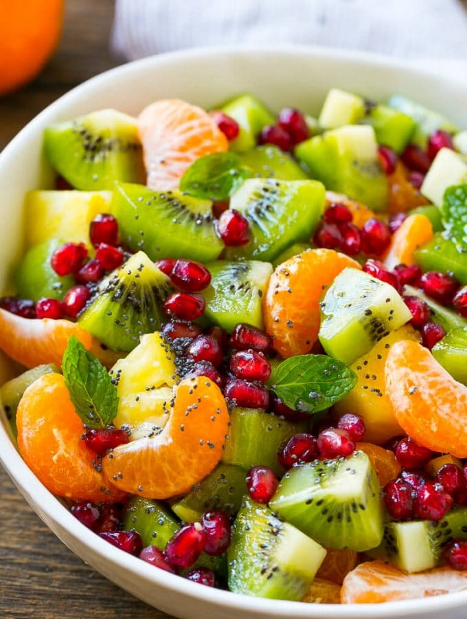This winter fruit salad is a colorful variety of fresh fruit tossed in a light honey poppy seed dressing.