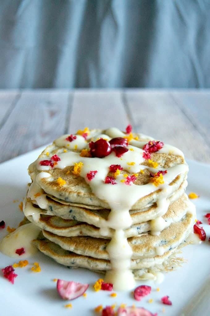 Cranberry Pancakes with Orange Cream Cheese Drizzle