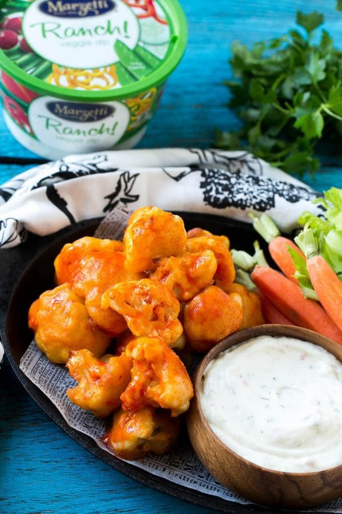 Baked buffalo cauliflower served with ranch.