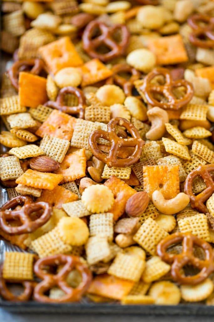Homemade chex mix dinner at the zoo a tray of from scratch chex mix thats made with chex cereal mixed nuts ccuart