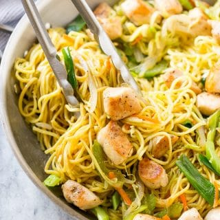 This easy chicken chow mein recipe is full of seasoned chicken, veggies and noodles, all tossed together in a savory sauce. It's so much better than take out!