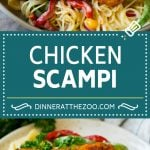 This chicken scampi recipe is golden brown chicken tenderloins with peppers and onions over pasta, all tossed in a white wine and butter sauce.