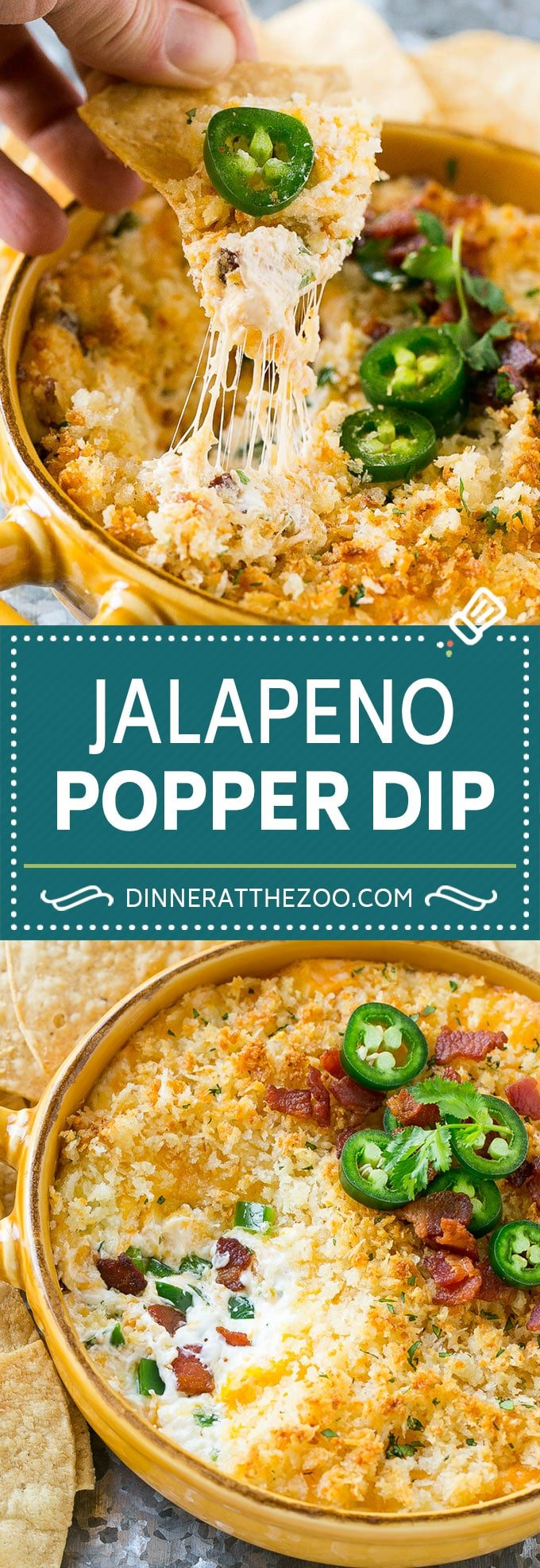 Jalapeno Popper Dip #jalapeno #dip #bacon #cheese #appetizer #dinneratthezoo