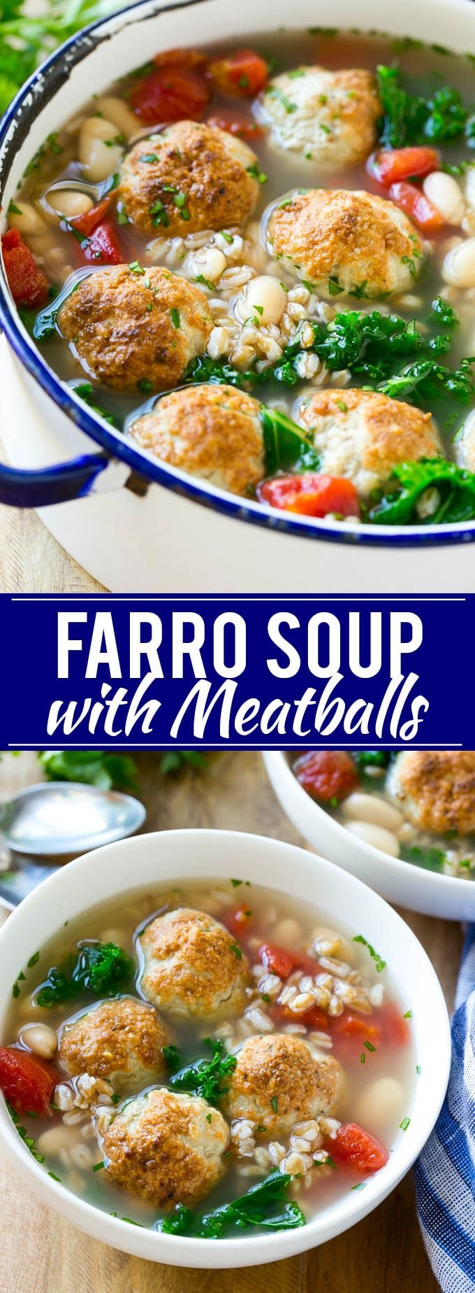 Farro Soup with Meatballs Recipe | Farro Recipe | Meatball Soup | Healthy Soup Recipe