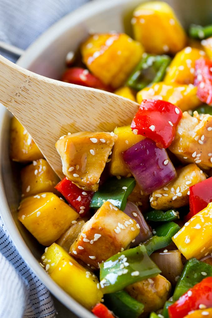 This teriyaki chicken stir fry recipe is full of chicken, colorful veggies and pineapple, all tossed in a sweet and savory homemade teriyaki sauce.