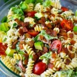 BLT pasta salad in a creamy ranch dressing.