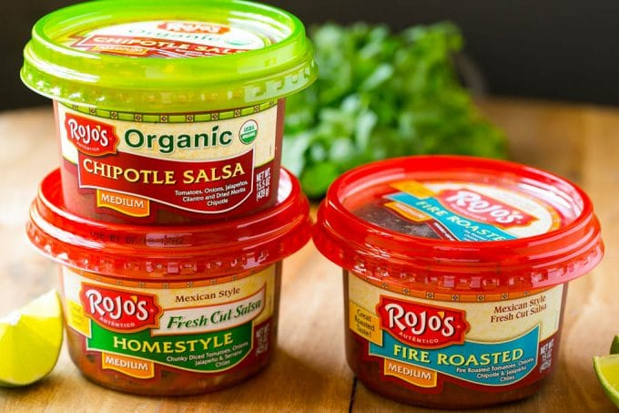 Tubs of Rojo's brand salsa.