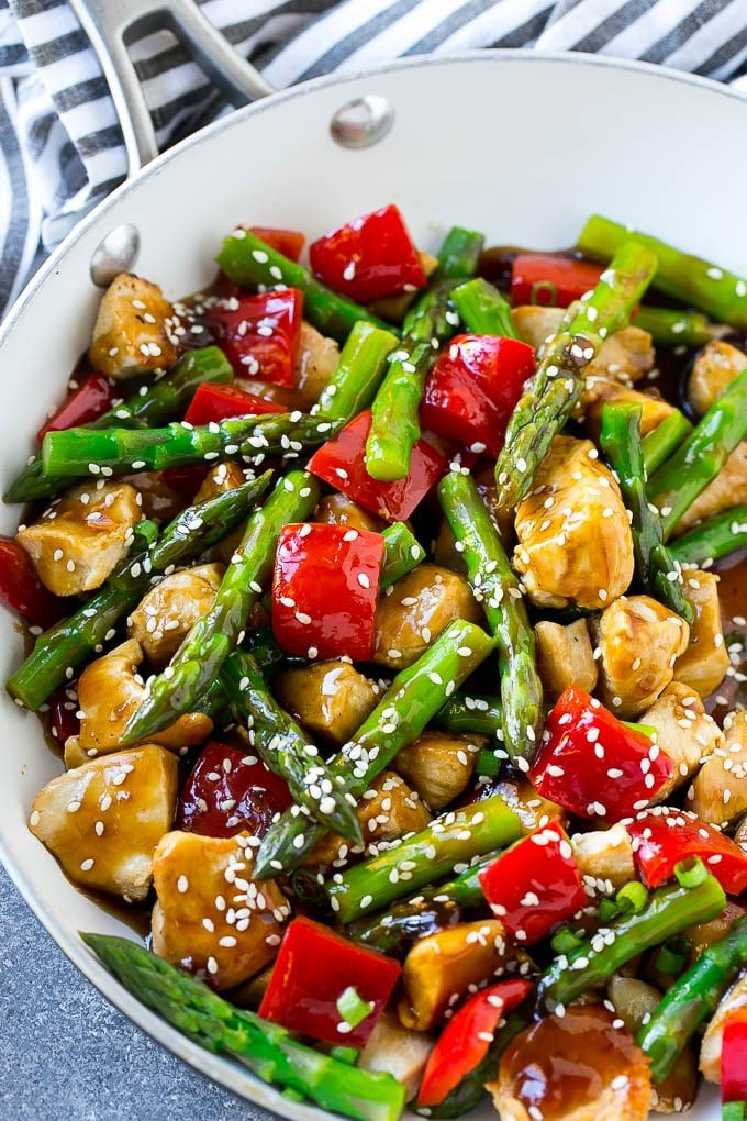 A pan of chicken teriyaki stir fry with chicken pieces, asparagus and red peppers.
