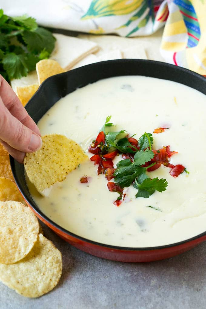 This white queso dip is a creamy and zesty snack that contains just 3 ingredients and is ready in 5 minutes.