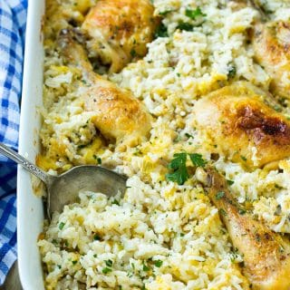 This classic chicken and rice casserole recipe is a one pan meal that's full of tender chicken and creamy rice, all baked together to golden brown perfection!
