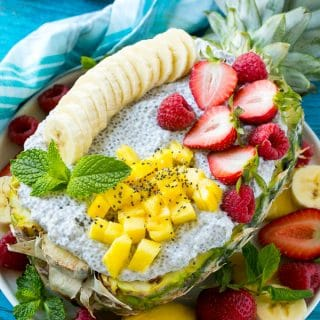 This tropical coconut chia pudding is an easy and healthy snack idea that's perfect for kids. Top it with an assortment of fresh fruit for an added boost of nutrition and color!