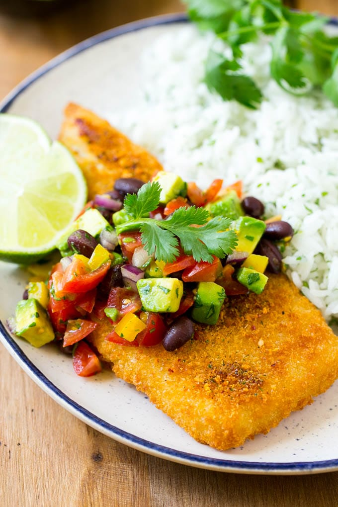 Fajita fish with avocado salsa dinner at the zoo this fajita fish is baked to crispy perfection and topped with a colorful and refreshing avocado forumfinder Gallery