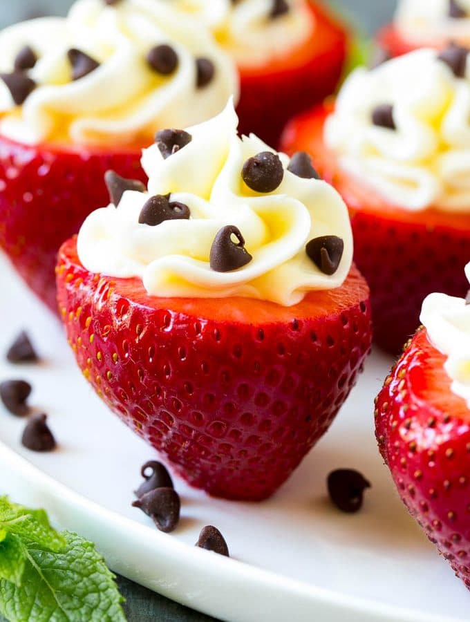 These cheesecake stuffed strawberries are a simple no-bake treat that always get rave reviews!
