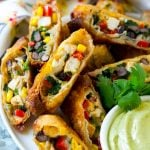 These southwestern egg rolls are loaded with a colorful variety of vegetables, chicken, beans and plenty of melty cheese, all wrapped up in a crispy roll. The ultimate party appetizer!
