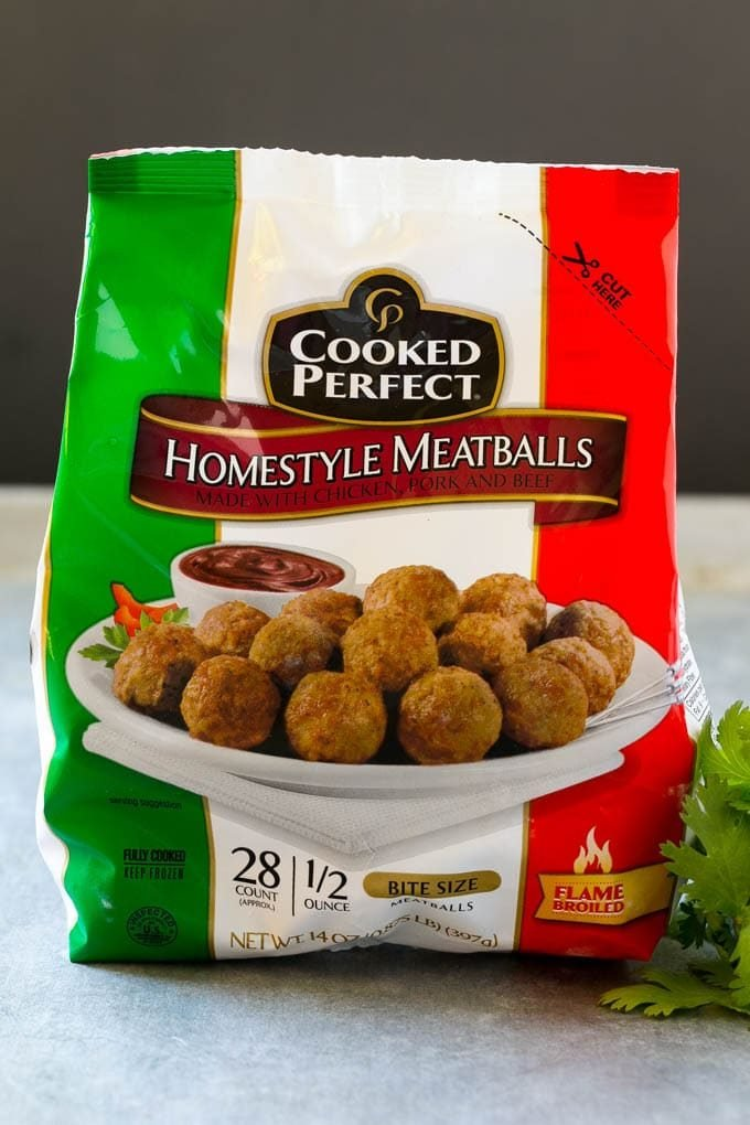 Cooked Perfect bag of meatballs.