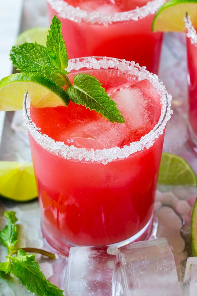 A glass of agua fresca made with fresh watermelon.
