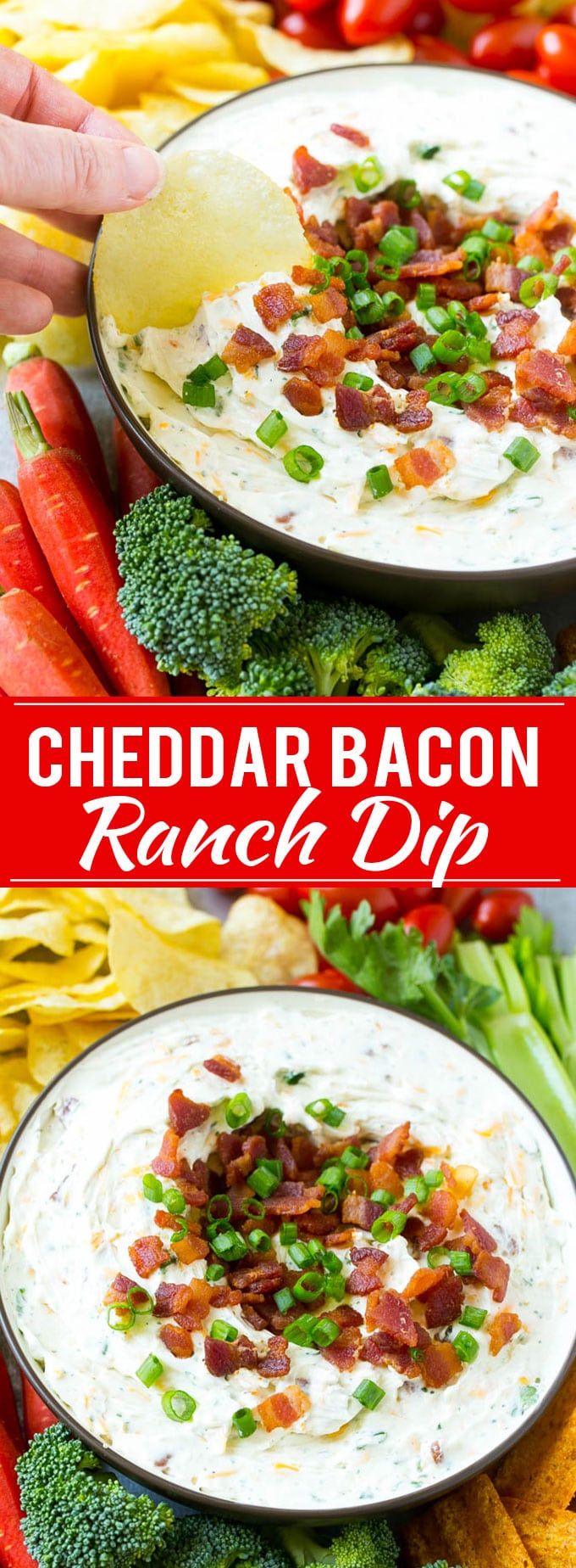Bacon Ranch Dip Recipe | Homemade Ranch Dip | Easy Dip Recipe | Cheddar Ranch Dip