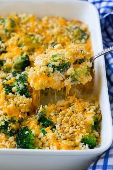 A spoonful of cheesy broccoli casserole