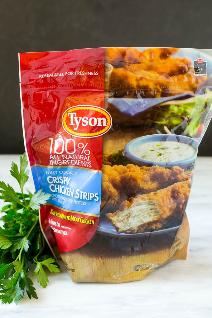A bag of Tyson chicken strips.