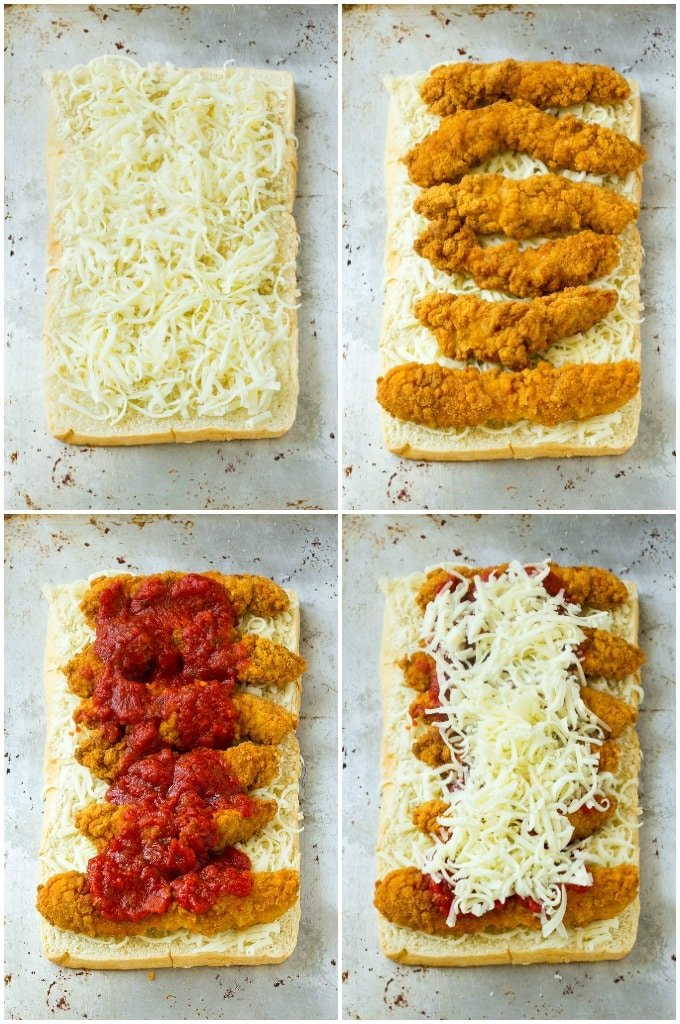 A step by step on how to make chicken parmesan sliders.