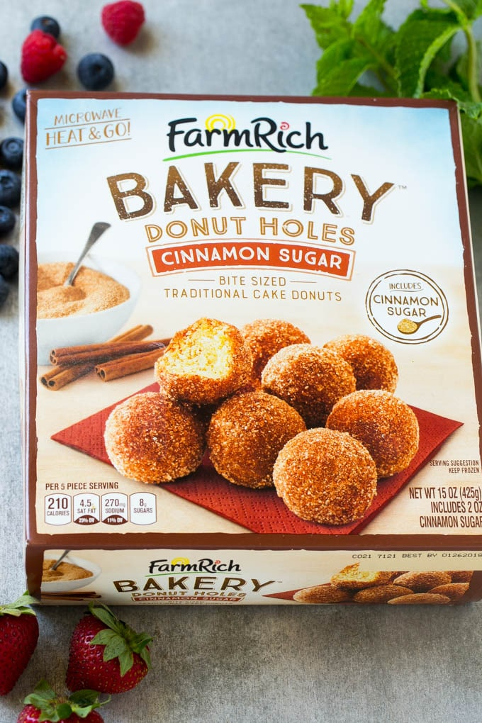 Box of Farm Rich Cinnamon Sugar Donut Holes