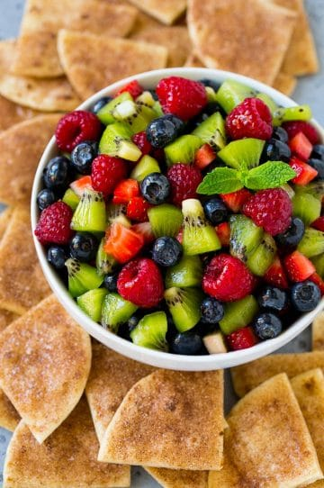 A bowl of fruit salsa served with cinnamon sugar chips.