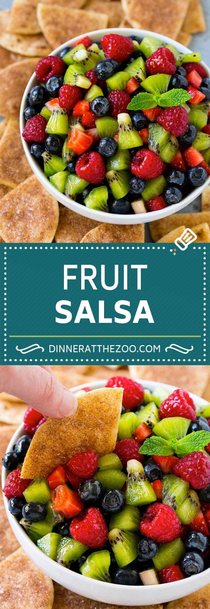 Fruit Salsa Recipe   Dessert Salsa   Cinnamon Sugar Chips   Fruit Recipe #fruit #kiwi #blueberry #strawberry #dip #salsa #dinneratthezoo #dessert #snack