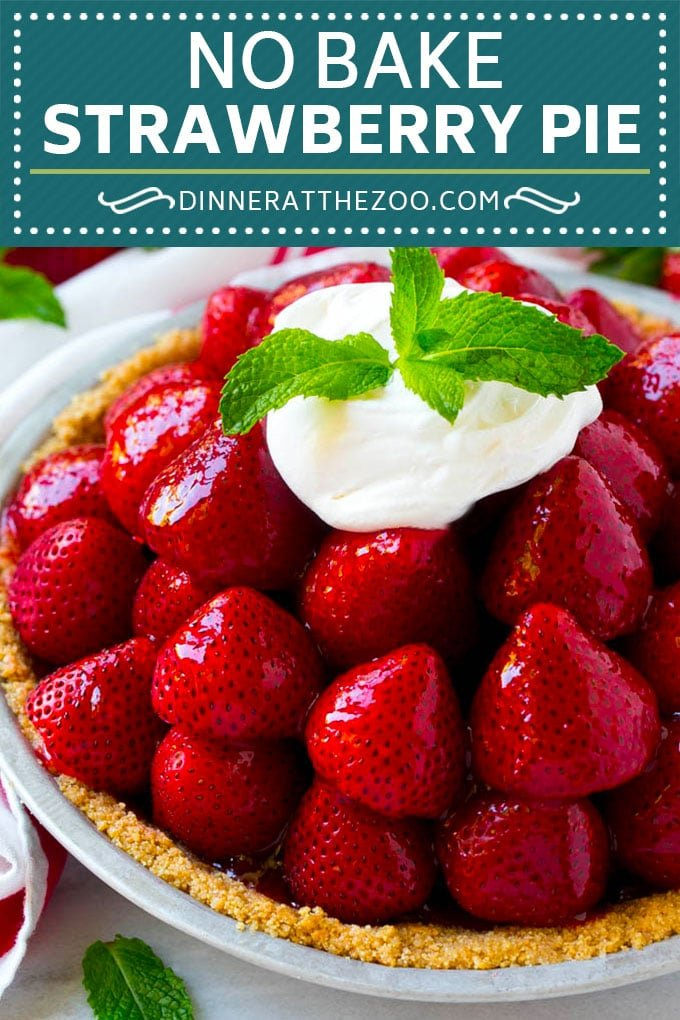 This fresh strawberry pie is a no bake delight that's made with a graham cracker crust.