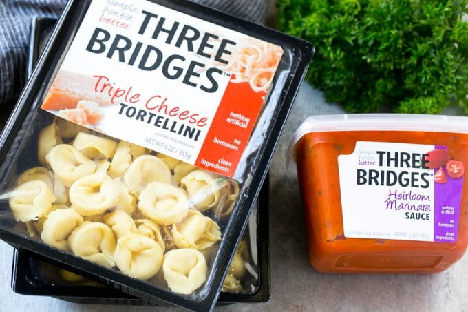 Three Bridges Triple Cheese Tortellini and Heirloom Tomato Sauce