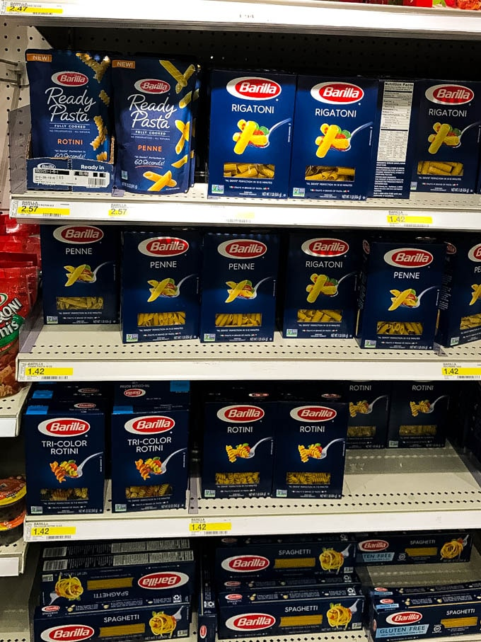 In store display of Barilla Ready Pasta
