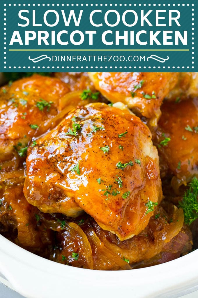Slow Cooker Apricot Chicken #chicken #apricot #slowcooker #crockpot #dinner #dinneratthezoo