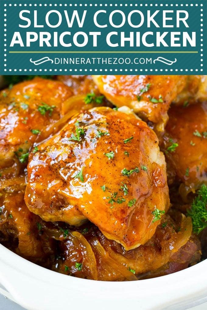 Slow Cooker Apricot Chicken #chicken #apricot #slowcooker #crockpot #dinner #dinneratthezoo