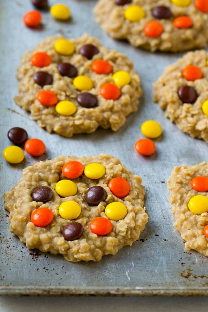 A sheet pan with no bake peanut butter cookies on it.