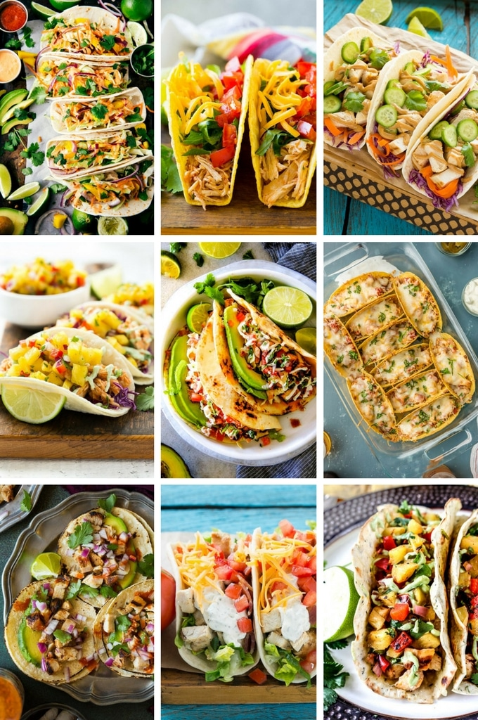 Chicken taco recipes such as Thai flavored tacos, street tacos and chili lime tacos