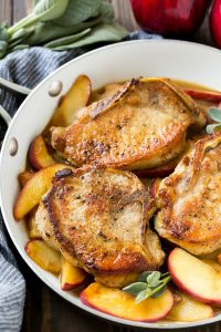 A pan of apple pork chops.