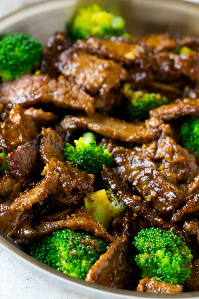 A pan full of beef and broccoli stir fry.