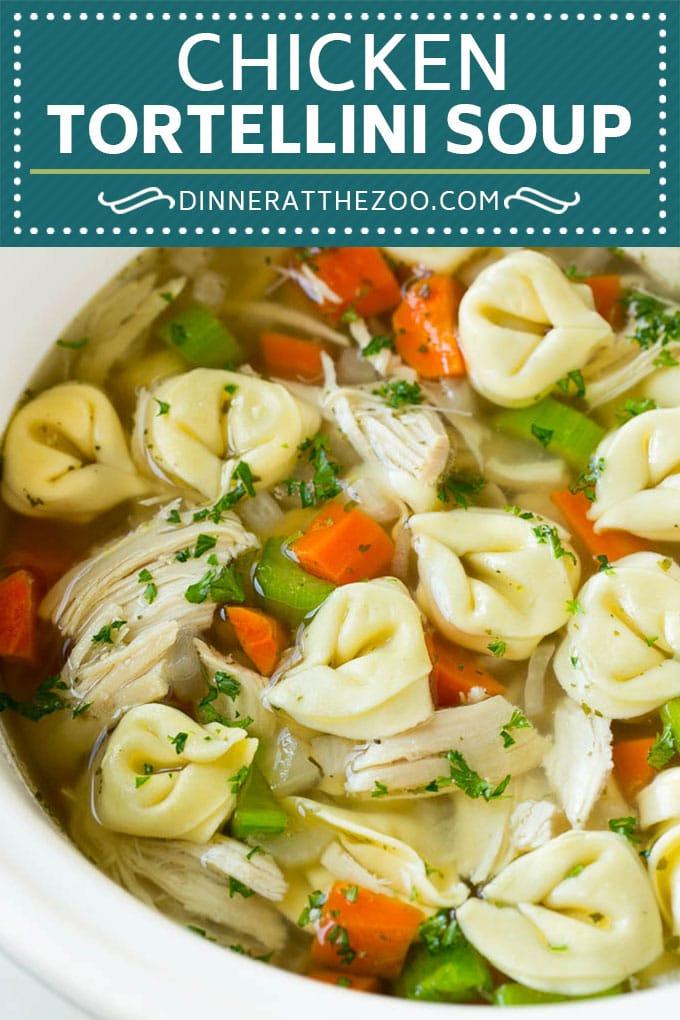 Chicken Tortellini Soup #soup #chicken #pasta #tortellini #slowcooker #crockpot #dinner #dinneratthezoo