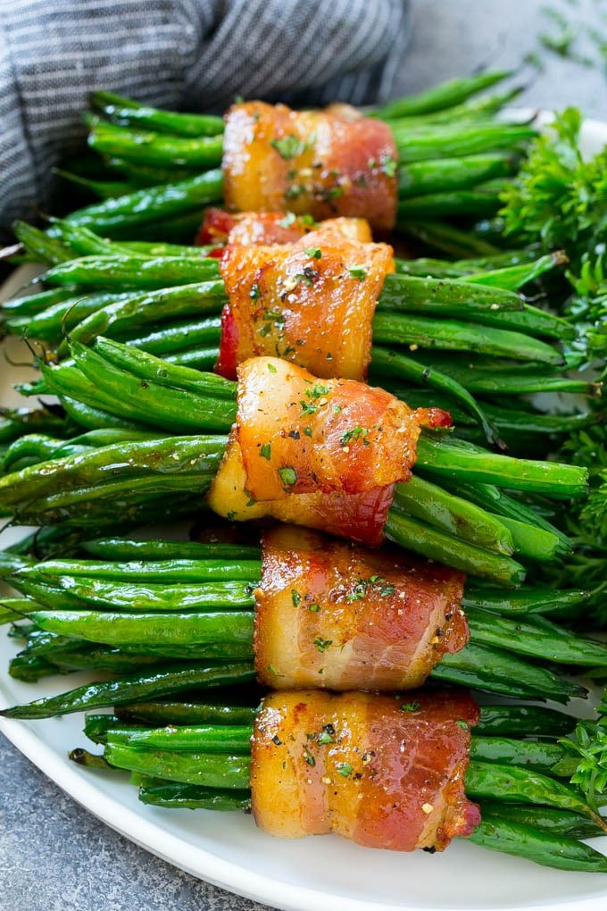 Green bean bundles wrapped in bacon.