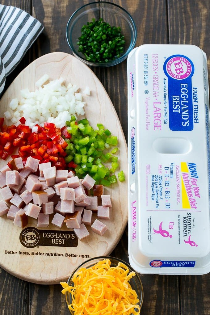 Ingredients for hash brown egg casserole.